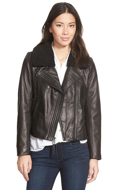 Faux Shearling Collar Leather Moto Jacket by Michael Michael Kors in Brooklyn Nine-Nine - Season 3 Episode 8