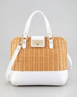 White Waverly Terrace Medium Wicker Satchel Bag by Kate Spade in The Other Woman