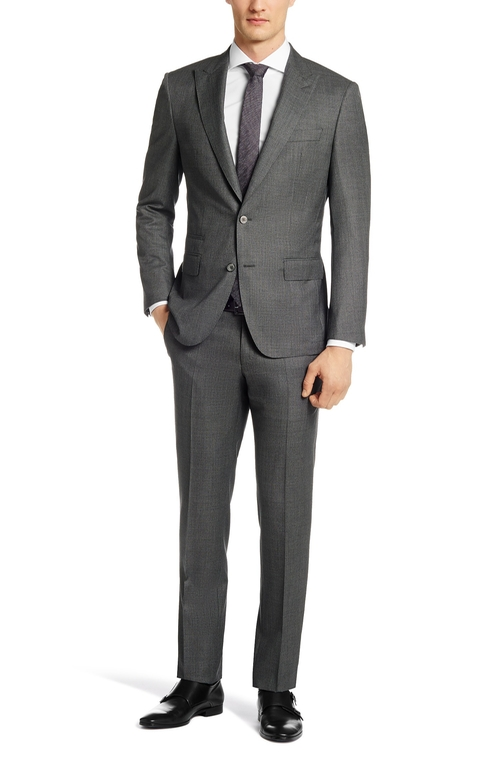 Italian Virgin Wool & Silk Suit by Boss Hugo Boss in Suits - Season 5 Episode 6