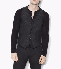 Textured Tape Trim Vest by John Varvatos in Shadowhunters