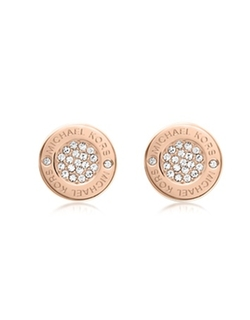 Logo Crystal Rose Gold-Tone Stud Earrings by Michael Kors in The Intern