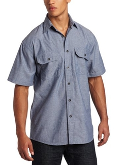 Short Sleeve Button Down Wrinkle Resist Chambray Shirt by Key Apparel in Straight Outta Compton