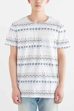 Geo Stripe Standard-Fit Pocket Tee  by BDG  in New Girl
