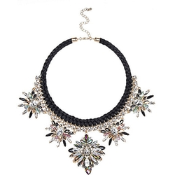 Black Statement Embellished Necklace by River Island in Trainwreck