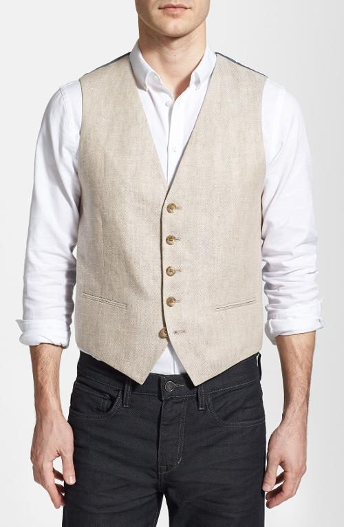 Herringbone Linen Vest by Wallin & Bros. in Jersey Boys