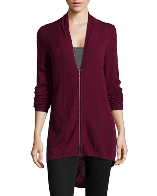 Cashmere High-Low Zip Cardigan by Neiman Marcus in Sleeping with Other People