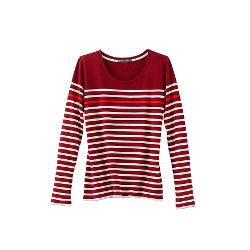 Women's Long-sleeved Tee In Tricolor Striped Cotton by Petit Bateau in Project Almanac
