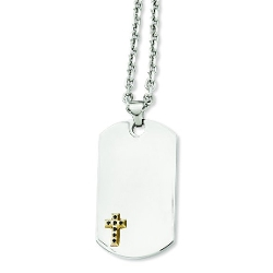 Stainless Steel Cross Dog Tag Necklace by Chisel in Dope