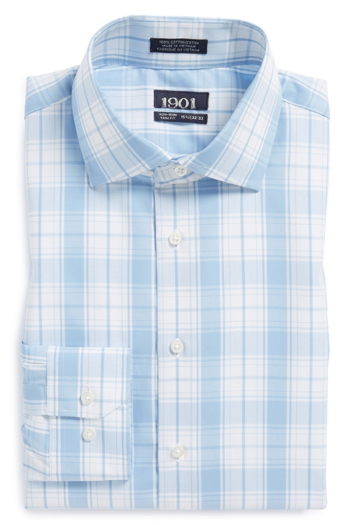 Trim Fit Plaid Dress Shirt by 1901 in The D Train
