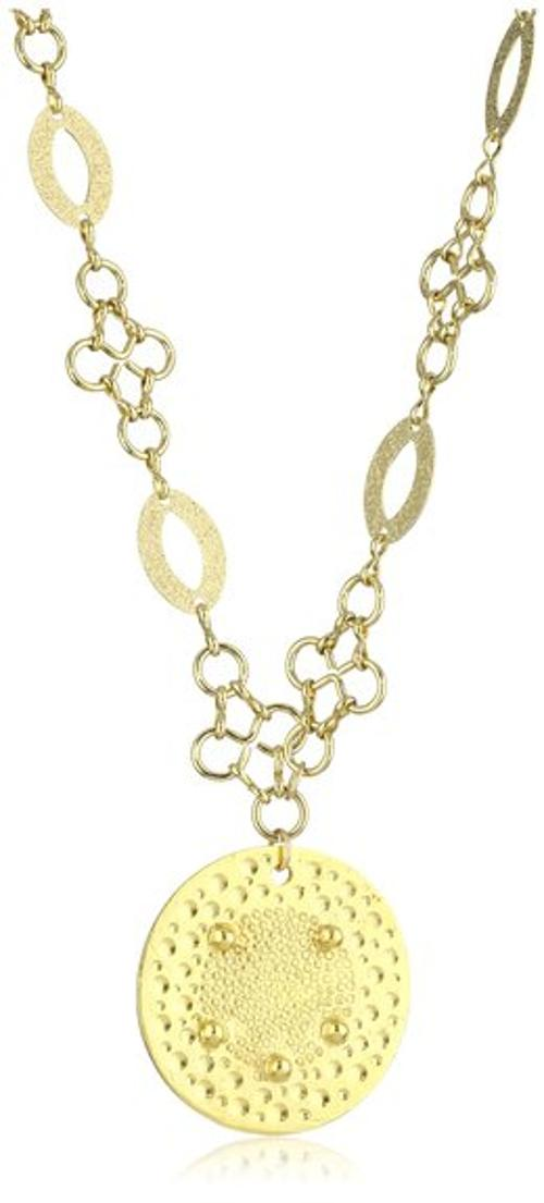14Kt. Yellow Gold Puffed Circle Pendant Necklace by Lord & Taylor in Addicted
