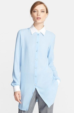 Contrast-Collar Silk Shirt by Michael Kors in Suits