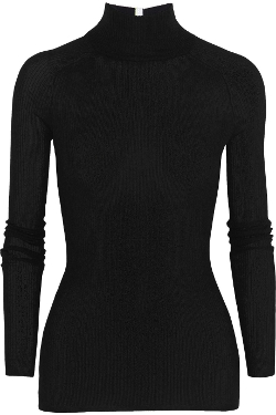 Ribbed-Knit Turtleneck Sweater by T By Alexander Wang in Barely Lethal