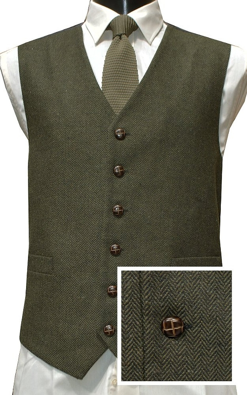 Herringbone Style Tweed Waistcoat Vest by Lloyd Attree in The Best of Me