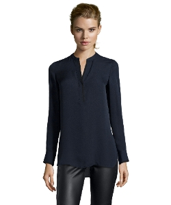 Silk Tipped Contrast Blouse by Vince in Barely Lethal