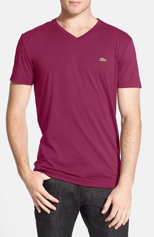Pima Cotton Jersey V-Neck T-Shirt by Lacoste in Rosewood