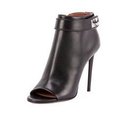 Shark-Lock Open-Toe Booties by Givenchy in Mistresses
