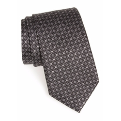 Gancini Print Silk Tie by Salvatore Ferragamo in Billions
