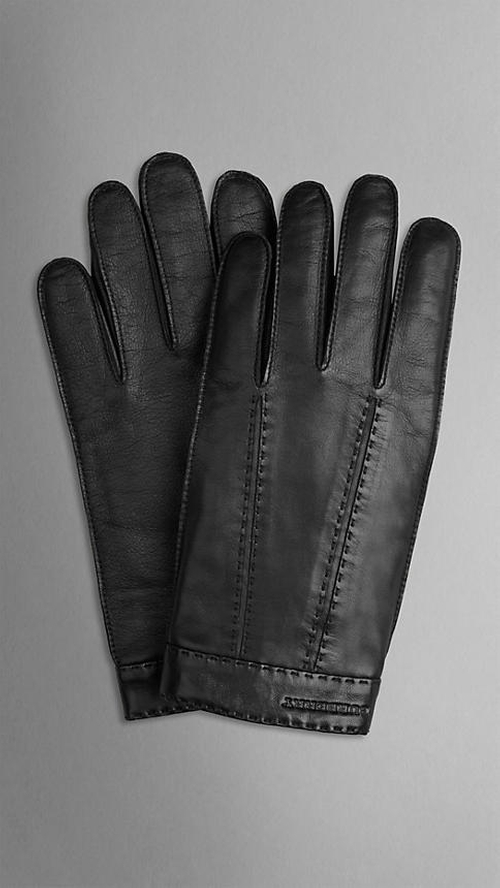 Cashmere-Lined Leather Touch Screen Gloves by Burberry in Survivor