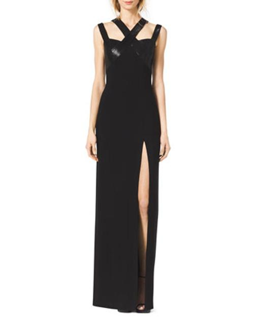 Sequined Cross-Neck Slit Gown by Michael Kors in Get On Up