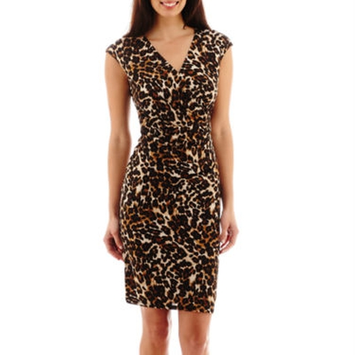 Animal Print Faux-Wrap Dress by Black Label By Evan-Picone in Sisters