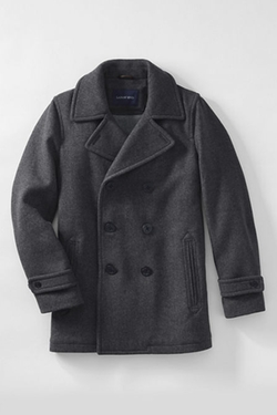 Men's Herringbone Wool Peacoat by Land's End in The Blacklist