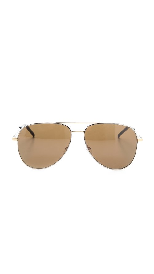 Classic Metal Aviator Sunglasses by Saint Laurent in Entourage