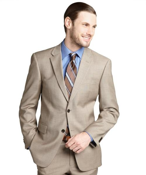 Tan Sharkskin Wool Two-button Suit Jacket by Tommy Hilfiger in Unbroken