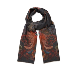 Monkey Print Wool And Cashmere Blend Scarf by Paul Smith in Black Panther