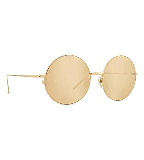 Gold Round Metal Sunglasses by Linda Farrow in Keeping Up With The Kardashians - Season 11 Episode 3