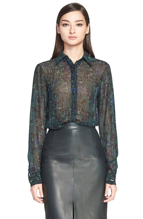 Abstract Print Silk Georgette Blouse by Jason Wu in Supergirl - Season 1 Episode 3