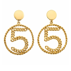 Chanel No.5 Chain Motif Earrings by Chanel in Empire