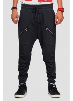 Low Crotch Sweatpants With Two Zippers On Deep Front Pockets Charcoal Gray by Zeal Company in Pitch Perfect 2