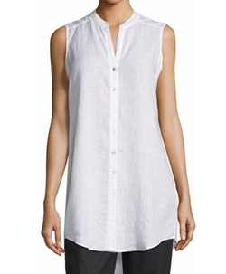 Sleeveless Organic Linen Button-Front Tunic by Eileen Fisher in Quantico