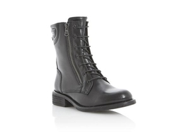Plaid Di Lined Leather Lace Up Biker Boot by Dune London in The Blacklist