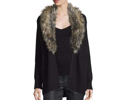 Evina Open-Front Cardigan w/Detachable Faux Fur Collar by Joie in Scream Queens