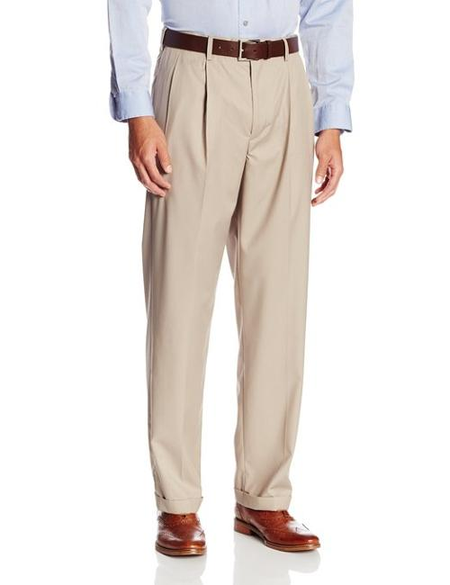 Men's Select Edition Pleated Gaberdine Dress Pant by Savane in Neighbors