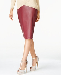 Faux-Leather Pencil Skirt by Thalia Sodi in Scream Queens