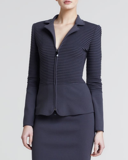 Ottoman Ribbed Zip-Front Jacket by Giorgio Armani in The Good Wife - Season 7 Episode 4