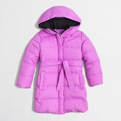 Girls' Long Belted Puffer Jacket by J.Crew Factory in Prisoners