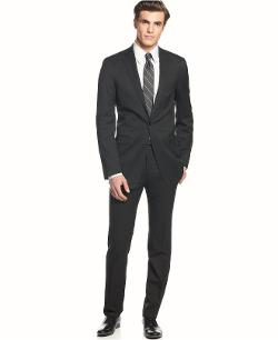Suit Solid Wool Black Slim X Fit by Calvin Klein in Brick Mansions