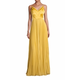 Pleated V-Neck Gown by Kay Unger in Quantico