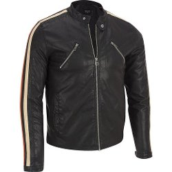 Mens Stripe Sleeve Faux-Leather Jacket by Wilsons Leather in If I Stay
