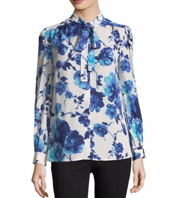 Kia Lili Floral Silk Bow Blouse by Tory Burch in The Good Place