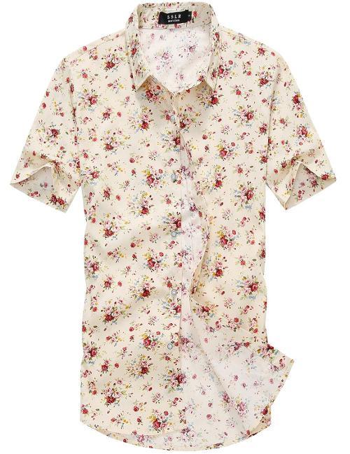 Men's Flower Buttondown Short Sleeve Shirt by SSLR in Neighbors