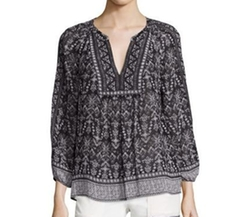 Jaya Stitched Geometric Print Silk Blouse by Joie in Pretty Little Liars
