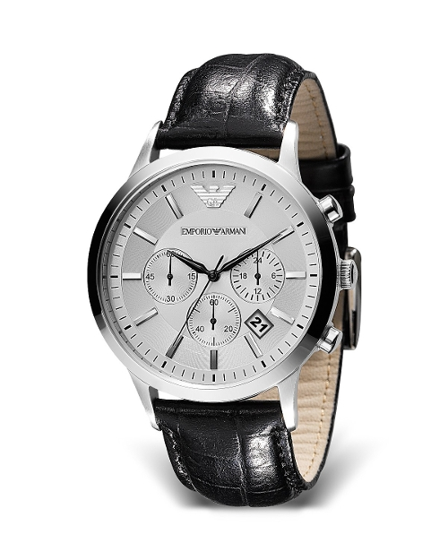 Round Chronograph Black Strap Watch by Emporio Armani in Unfinished Business