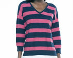 Pink and Navy Horizontal Striped Knit Shirt by Ralph Lauren in Pitch Perfect 2