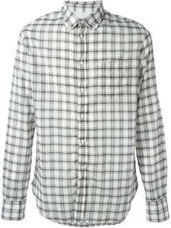 Plaid Button Down Collar Shirt by Officine Generale in Black-ish