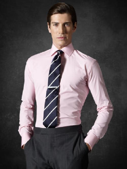 Aston End-on-End Shirt by RALPH LAUREN PURPLE LABEL in The Wolf of Wall Street