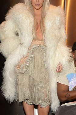 Custom Made White Fur Coat by Katie Eary For Kanye West Yeezy in Keeping Up With The Kardashians
